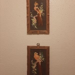 2 Mexican Feather Art wall hangings
